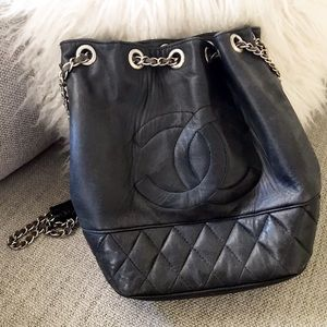 CHANEL / Black Quilted Chain Bucket Bag